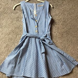 SHEIN Blue and White Striped Dress